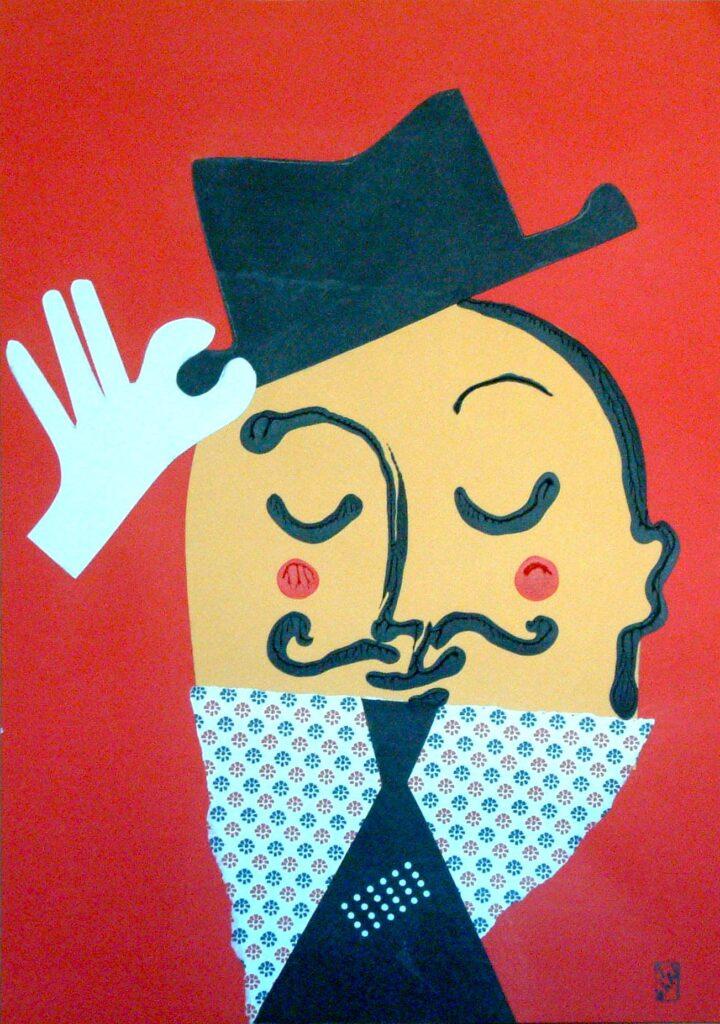 hombre con bigote y sombrero(42x30)