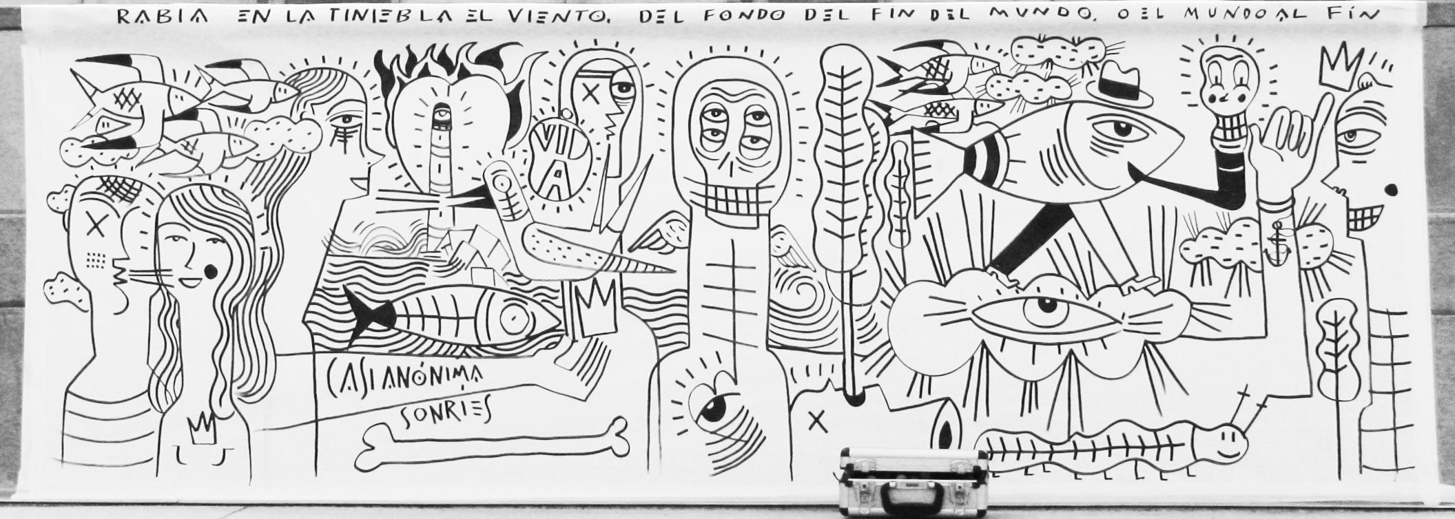 Mural Caión recorte milicia grafica